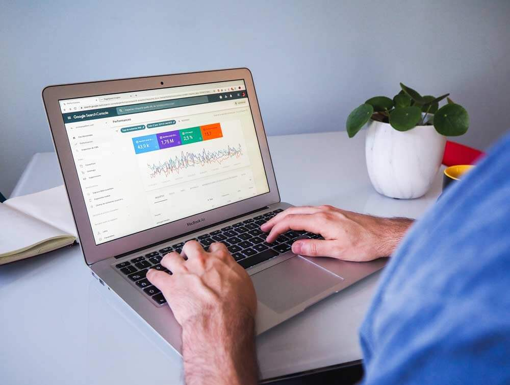 a man seeing some charts in search console